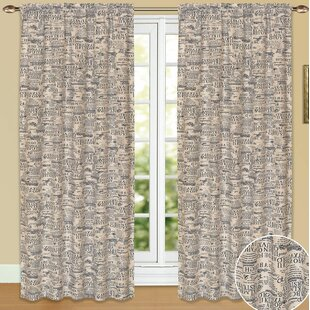Carnot Newspaper Single Graphic Print And Text Room Darkening Rod Pocket Curtain Panel