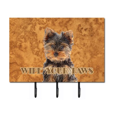 Yorkie Puppy/Yorkshire Terrier Wipe Your Paws Leash Holder and Key Hook