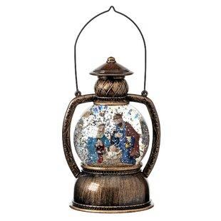 Led Battery Operated Nativity Lantern Water Globe