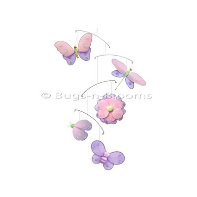 Butterfly Dragonfly Ladybug Nylon Flower Bee Mobile Bugs-n-Blooms