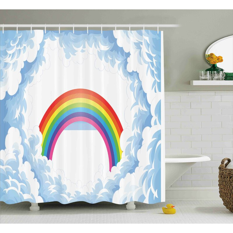 Madeline Rainbow Fluffy Clouds Shower Curtain