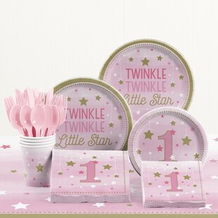81 Piece One Little Star Girl 1st Birthday Plastic/Paper Tableware Set & Disposable Plates \u0026 Bowls You\u0027ll Love   Wayfair