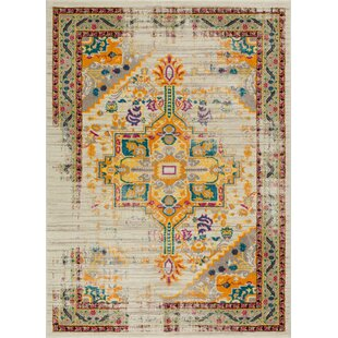 Binstead Traditional Vintage Distressed Power Loom Beige/Yellow Area Rug