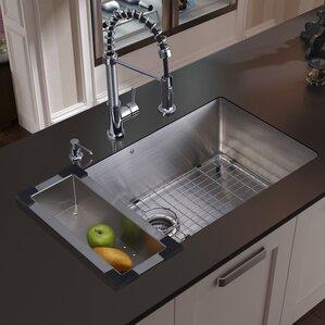 VIGO 30 inch Undermount Single Bowl 16 Gauge Stainless Steel Kitchen Sink with Edison Chrome Faucet, Grid, Strainer, Colan...