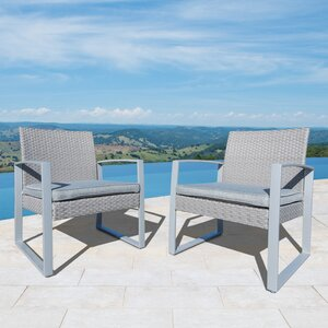 Purtell Wicker Patio Chair with Cushions (Set of 2)