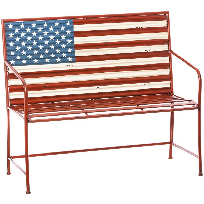 e0632007870 August Grove Bennie American Flag Metal Garden Bench