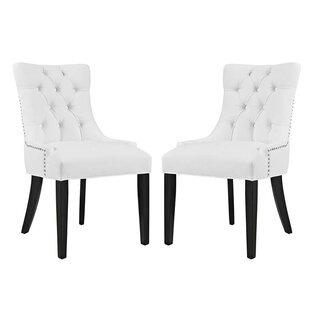 Burnett Vinyl Dining Side Chair (Set of 2)  sc 1 st  Wayfair & White Vinyl Dining Chairs | Wayfair