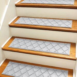 Superior Aqua Shield Gray Argyle Stair Tread (Set Of 4)
