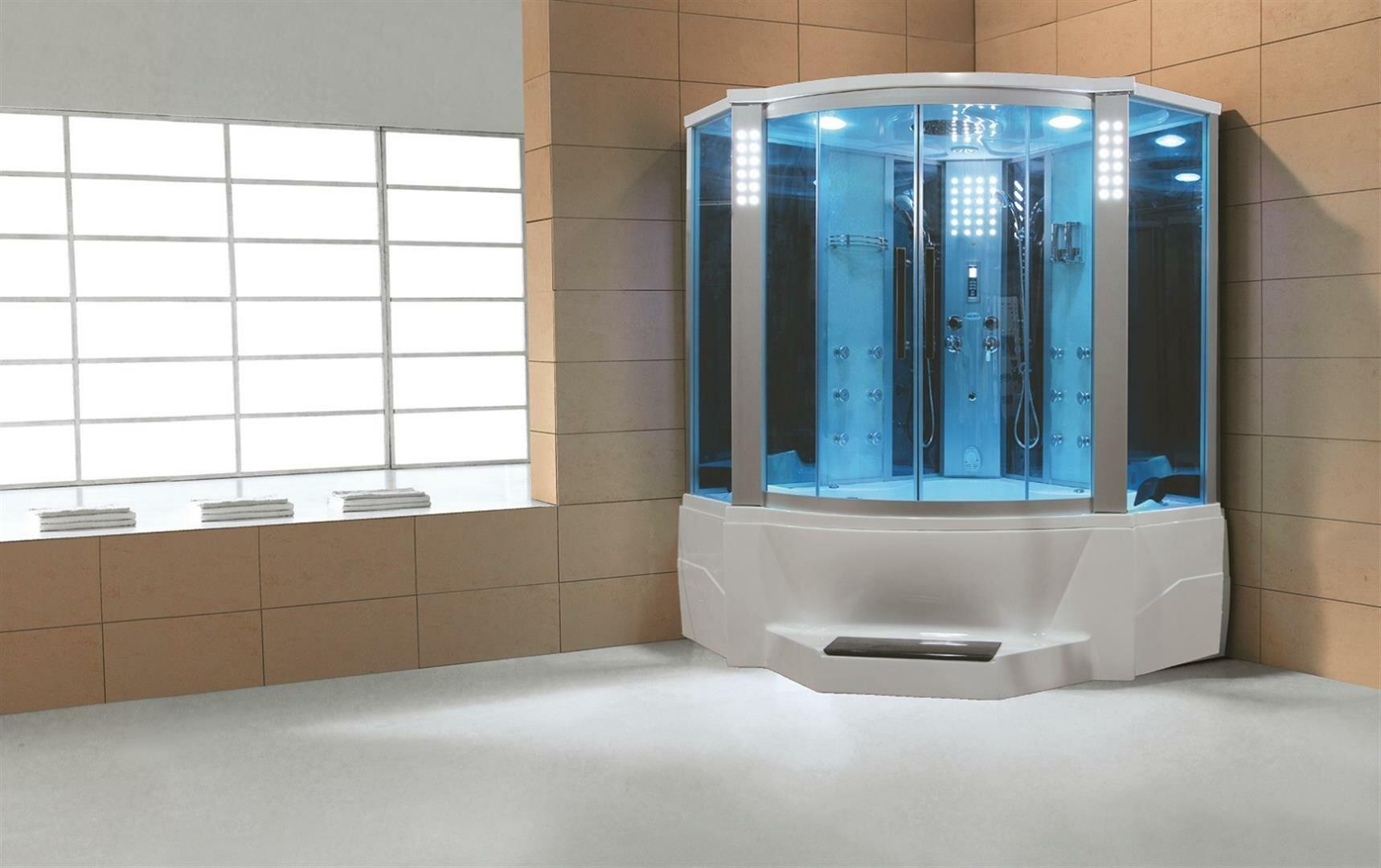 Eagle Bath 66 X 86 6 Neo Angle Sliding Steam Shower With Base Included Wayfair