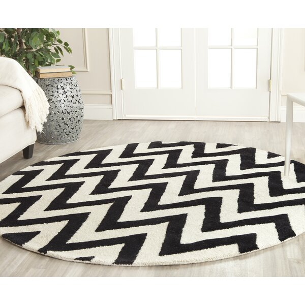 Safavieh Outdoor Living Cooley Black White Dining Set 5: Safavieh Wilson Hand-Tufted Black/Ivory Area Rug & Reviews