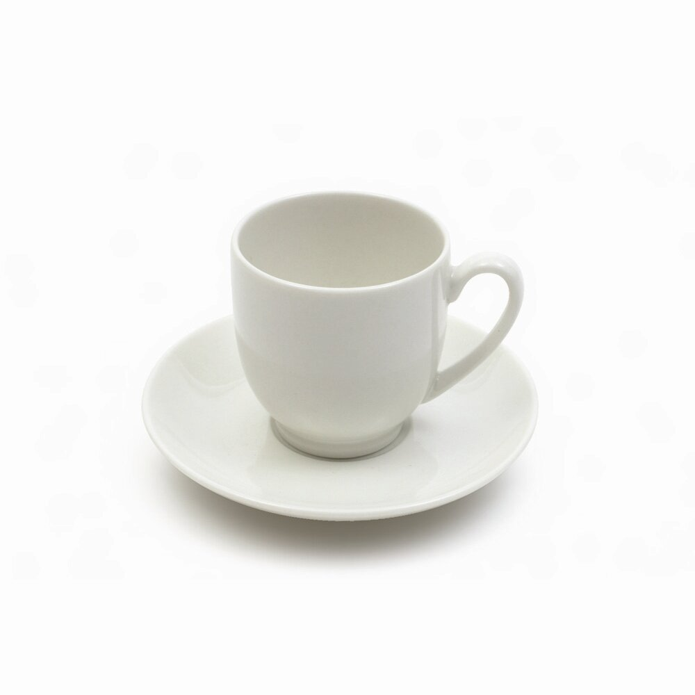 White Basics 2 Oz Cup And Saucer Set Of 6