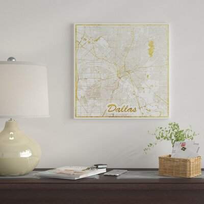 East urban home milwaukee gold leaf urban blueprint map graphic dallas gold leaf urban blueprint map graphic art print on canvas malvernweather Images