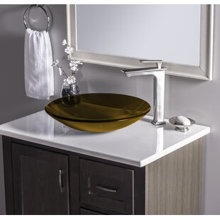 Low Profile Glass Circular Vessel Bathroom Sink