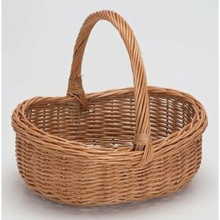 Oval Ping Rimmed Wicker Basket With Handle