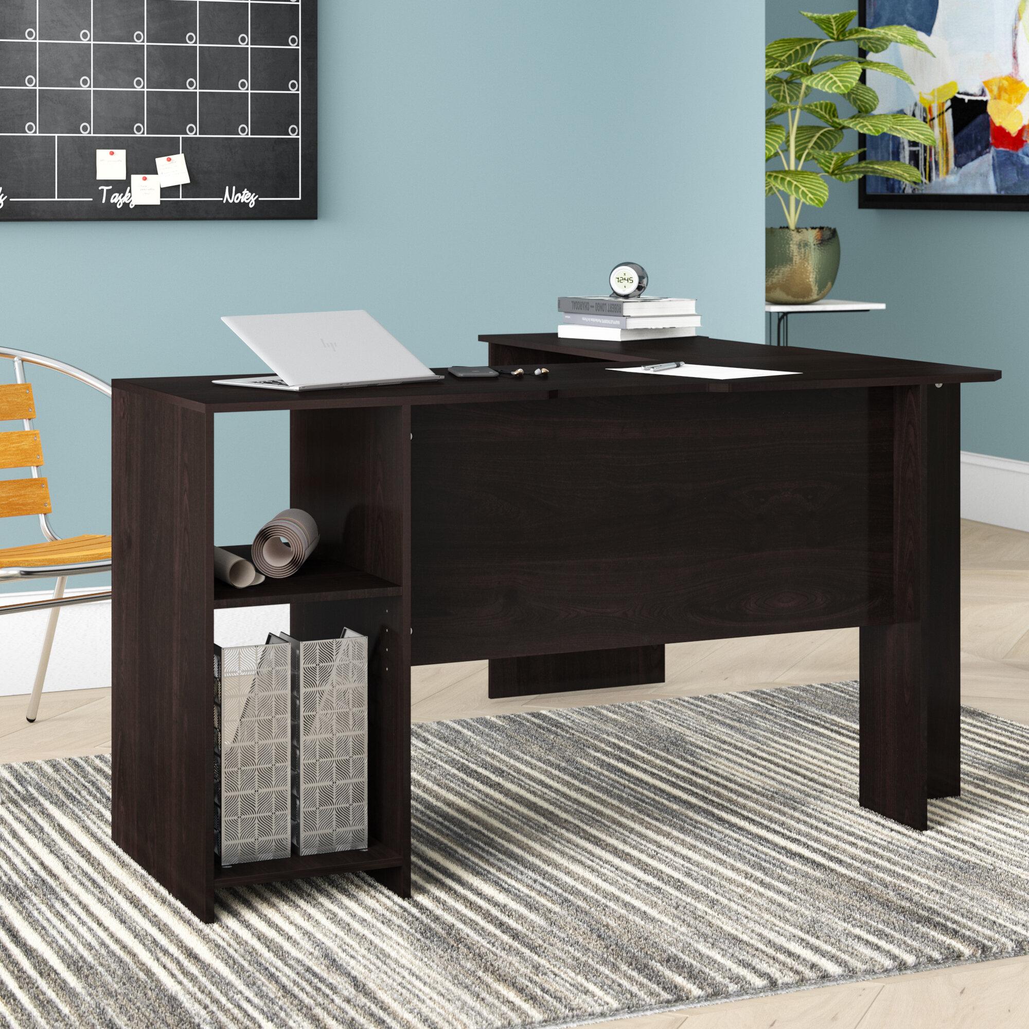 Ebern Designs Eakins L-Shaped Corner Desk with Bookshelves & Reviews ...