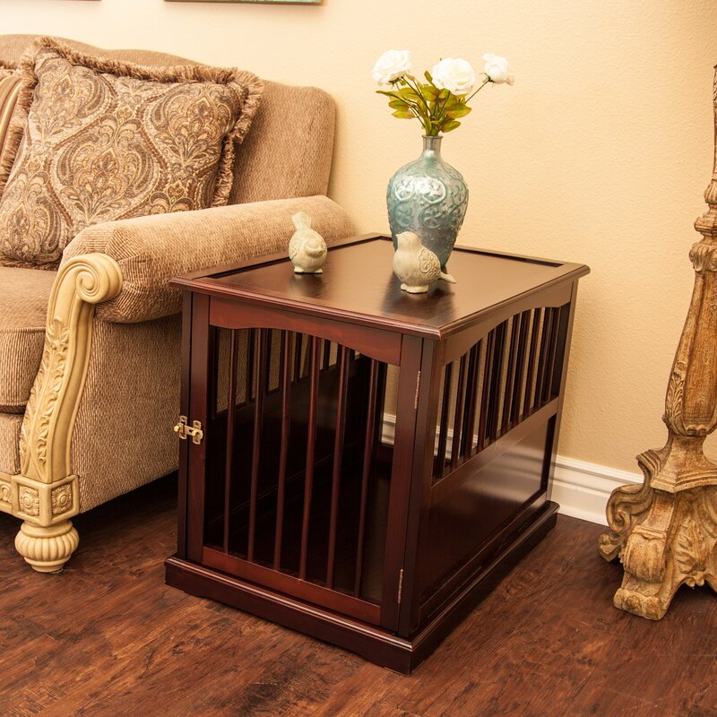 Charmant Pet Crate End Table In Walnut