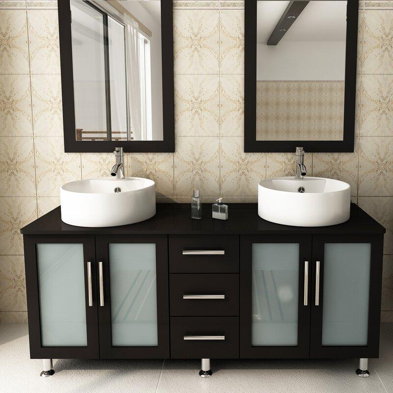 Jwh Living 59 Double Lune Bathroom Vanity Set Reviews