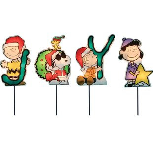 joy peanuts and snoopy christmas pathway lighted display set of 4 - Snoopy Christmas Decorations