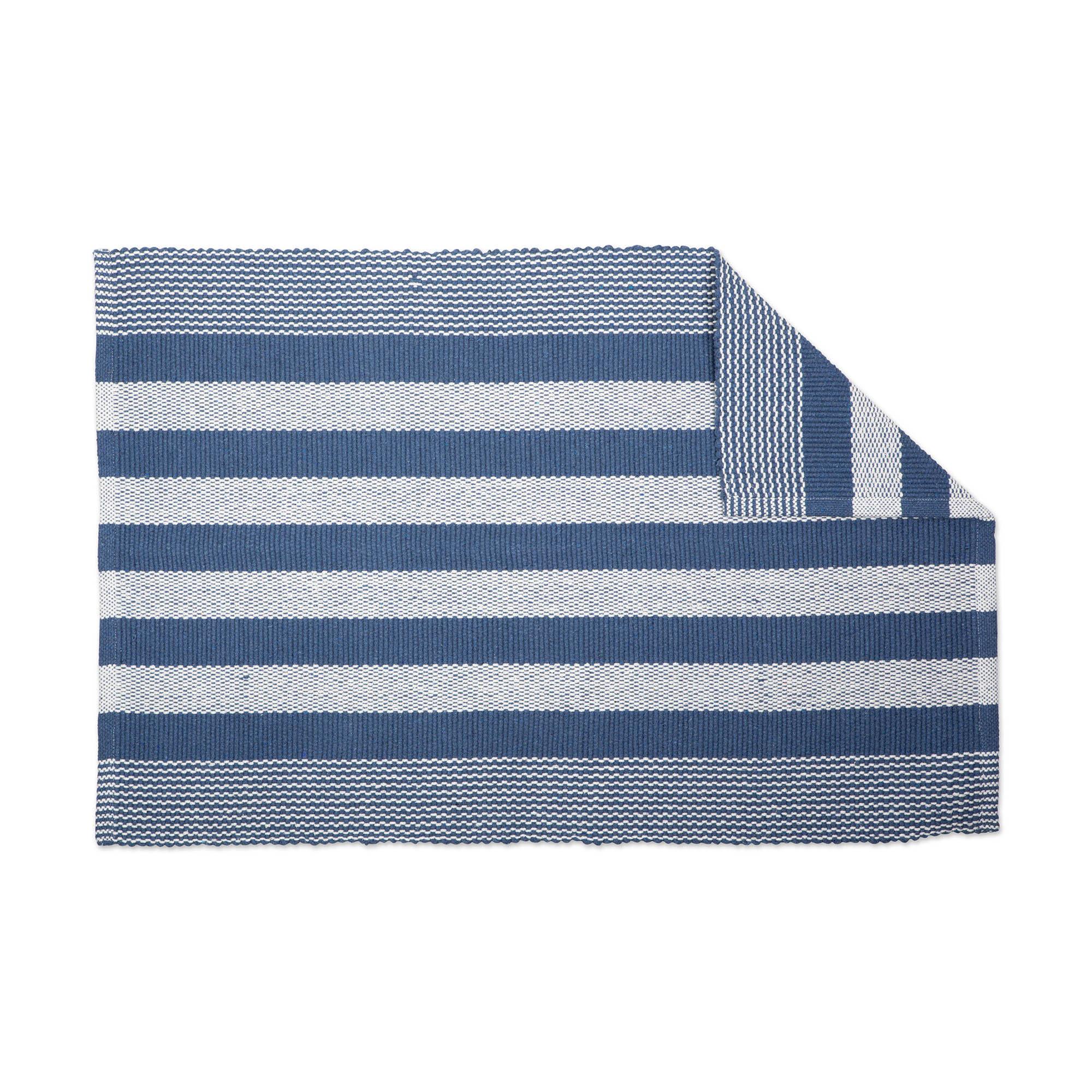 6b2b1afa Breakwater Bay Gant Recycled Yarn French Cabana Stripe Cotton Blue Area Rug  | Wayfair