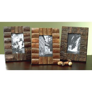 3 piece rustic tree bark wood picture frame set