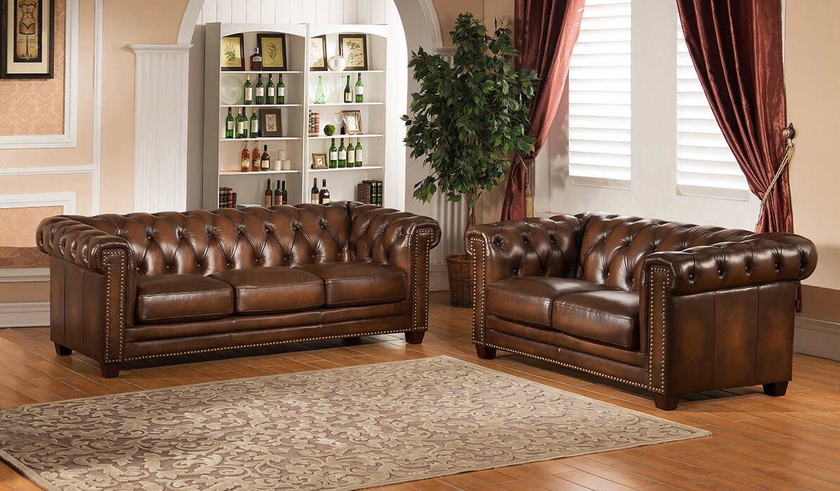 Amax Hickory 2 Piece Leather Living Room Set & Reviews | Wayfair