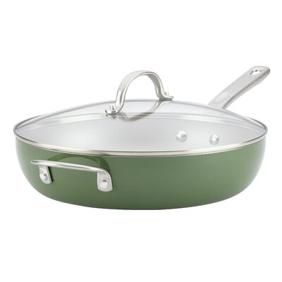 Porcelain Enamel Non-stick Deep 12 Skillet with Handle and Lid Ayesha Curry
