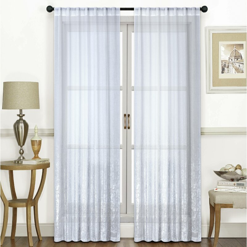 Ombre Solid Semi Sheer Rod Pocket Curtain Panels