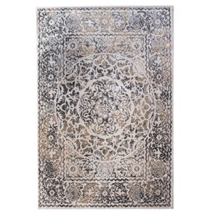 Buy Rosie Transitional Medallion Distressed Ivory/Gray Area Rug!