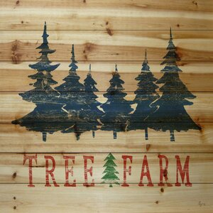 'Trees from the Farm' Painting Print on Wood