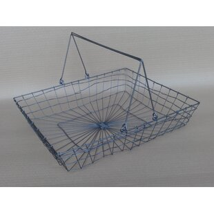 Wire basket table wayfair a shallow rectangular handle wire basket greentooth Images
