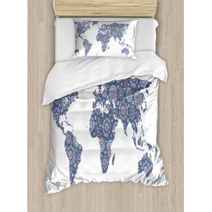 World map crib bedding wayfair indian ethnic oriental featured world map with arabesque effect artwork print duvet set gumiabroncs Gallery
