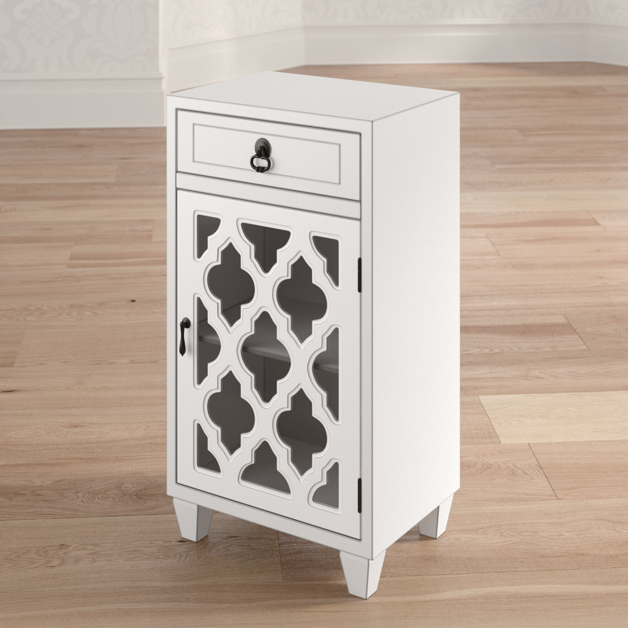 Mistana Fairhills 1 Drawer And 1 Door Accent Cabinet With Glass