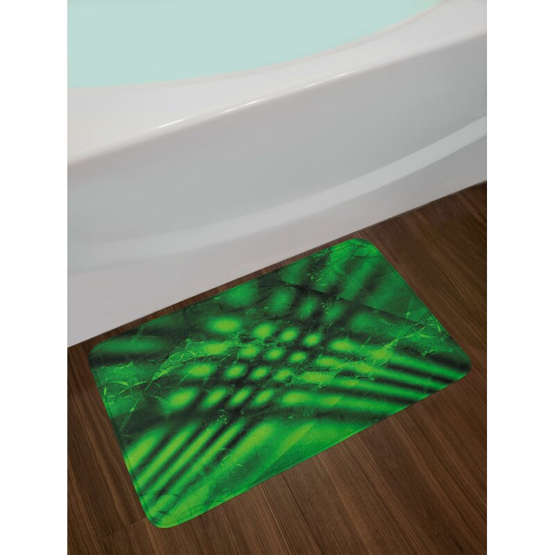 Psychedelic Lime Green Bath Rug