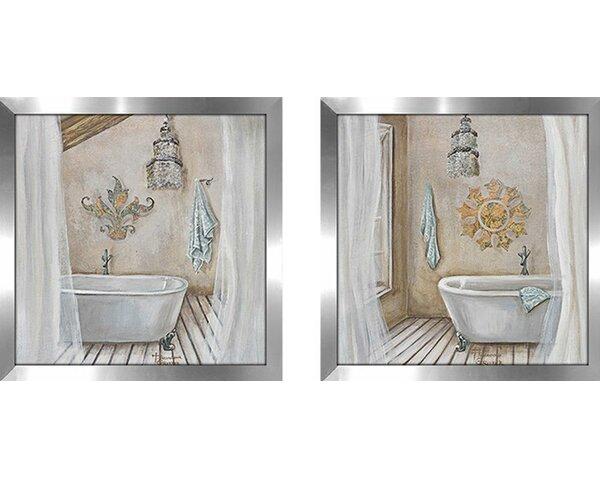 Acrylic Crystal Wall Decor: Highland Dunes Crystal Bath' 2 Piece Framed Acrylic