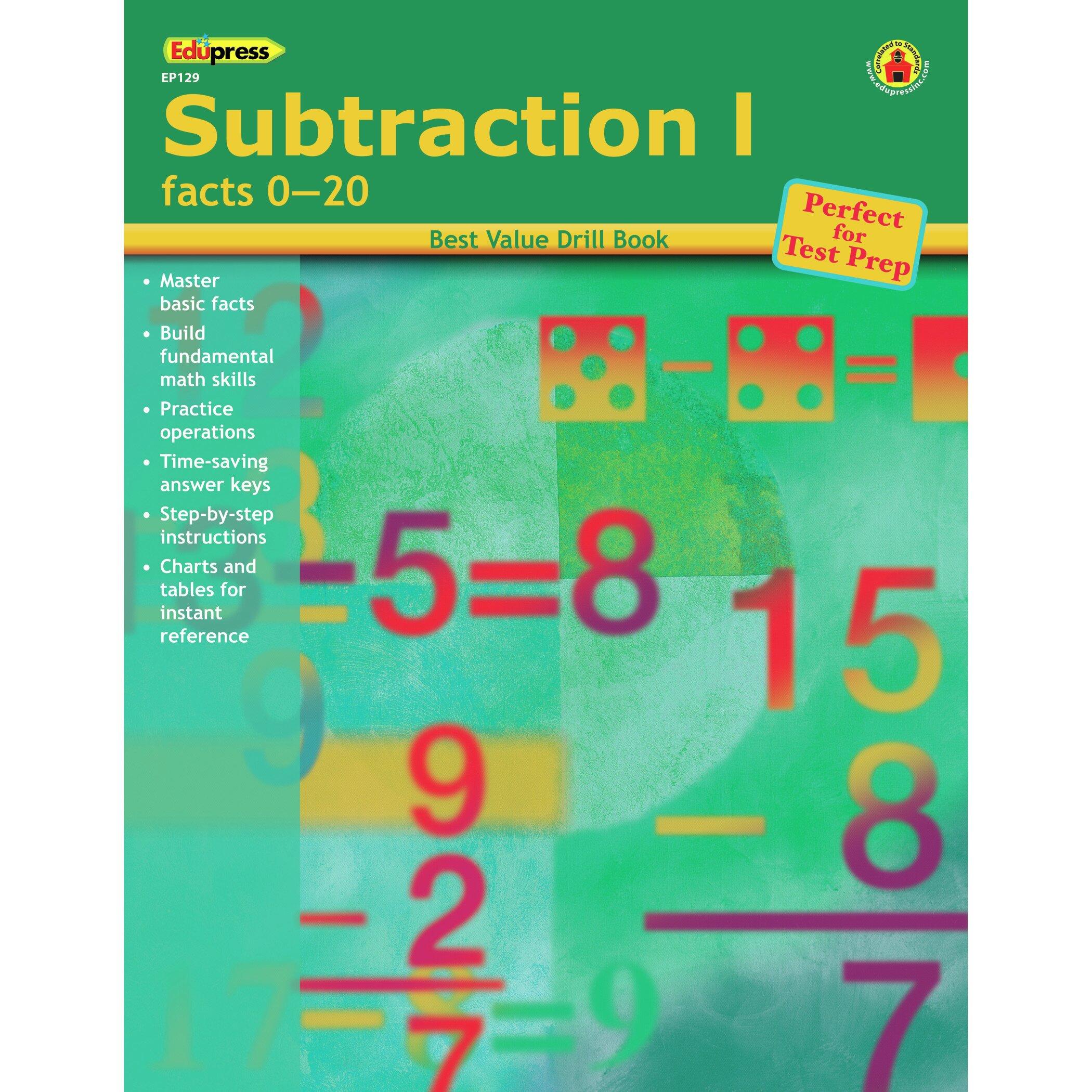 Edupress Subtraction 1 Facts 0-20 Book | Wayfair