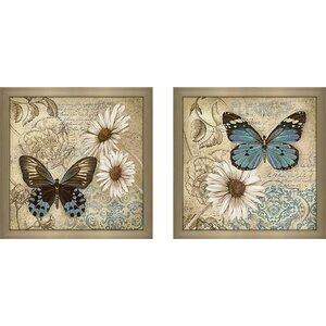 'Butterfly Garden II' 2 Piece Framed Acrylic Painting Print Set Under Glass