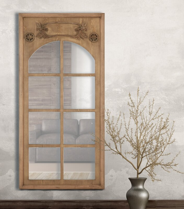 Wonderful Natural Wood Stained Window Frame Decorative Wall Mirror