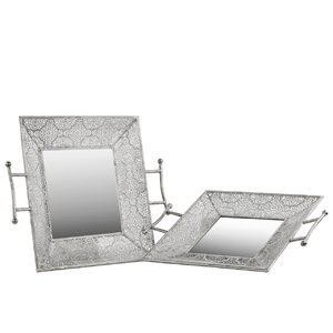 2 Piece Metal Square Tray Set