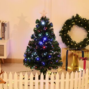 3 green artificial christmas tree with 90 multi colored lights with stand