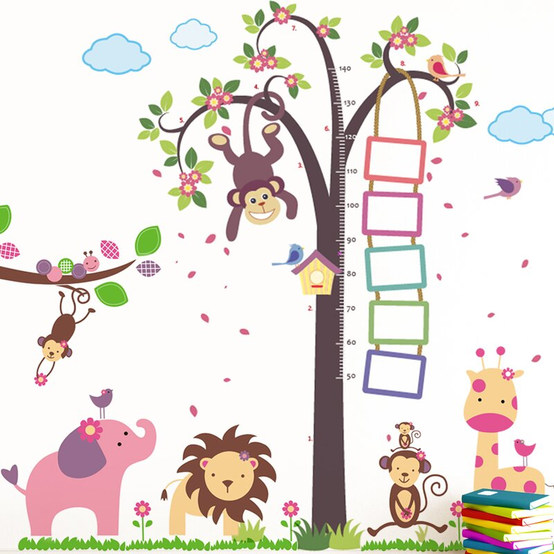 Nursery Monkey Height Measure And Huge Elephant Animals Wall Decal