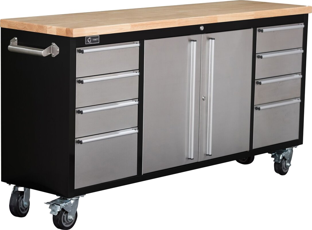 Rolling Rubberwood  Drawer Bottom Rollaway Chest