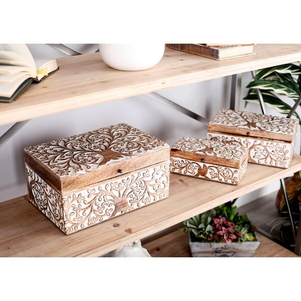 Bungalow Rose Lemoore Carved Tree Natural 3 Piece Decorative Box Set With Lid Reviews Wayfair