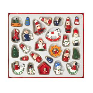 26 piece wooden christmas hanging figurine set