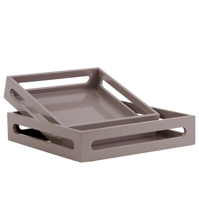 Turn on the Brights Westwick 2 Piece Square Serving Tray Set Color: Taupe