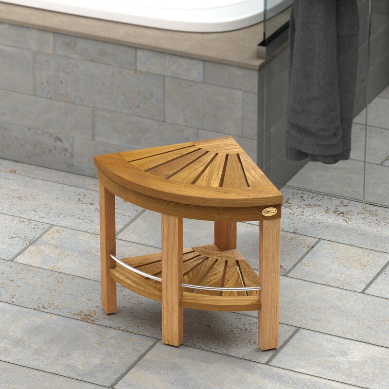 Teak Fully Assembled Corner Shower Seat