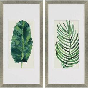 Framed Wall Art Set Of 2 framed leaves wall art | wayfair