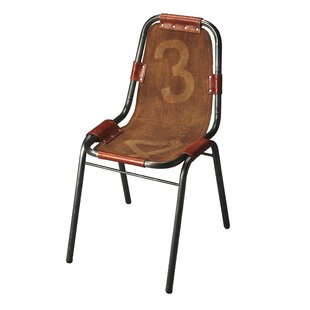 Erving Vintage Genuine Leather Upholstered Dining Chair
