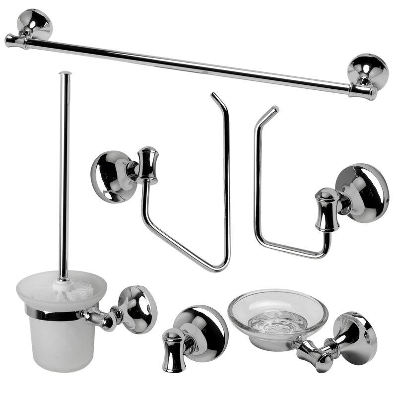 Alfi brand matching 6 piece bathroom accessory set for Matching bathroom accessories sets
