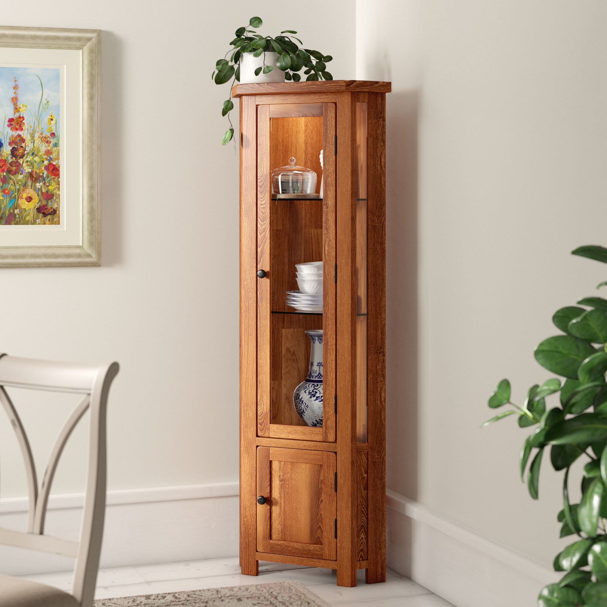 Homestead Living Rayleigh Solid Oak Corner Display Cabinet Reviews