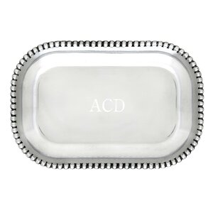 Engravable Beaded Catchall Serving Tray